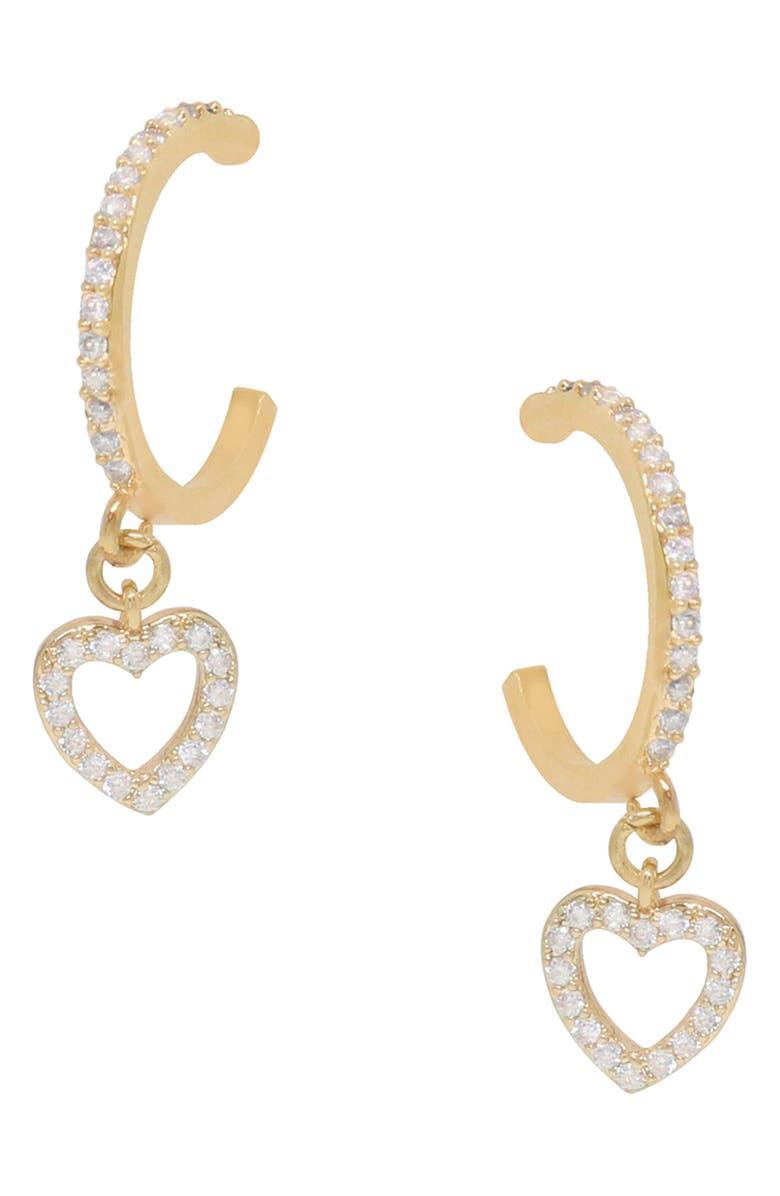 ETTIKA Small Heart Dangle Hoop Earrings, Main, color, GOLD