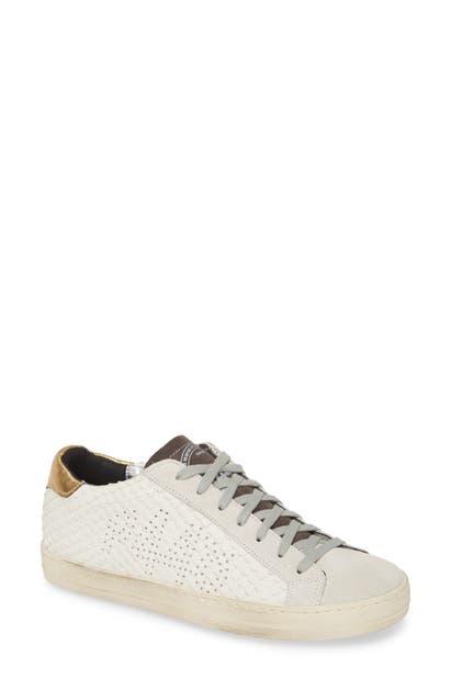 P448 John Low Top Sneaker In White/ Gold