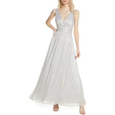 Morgan & Co. Shimmer Knit A-Line Gown, Metallic