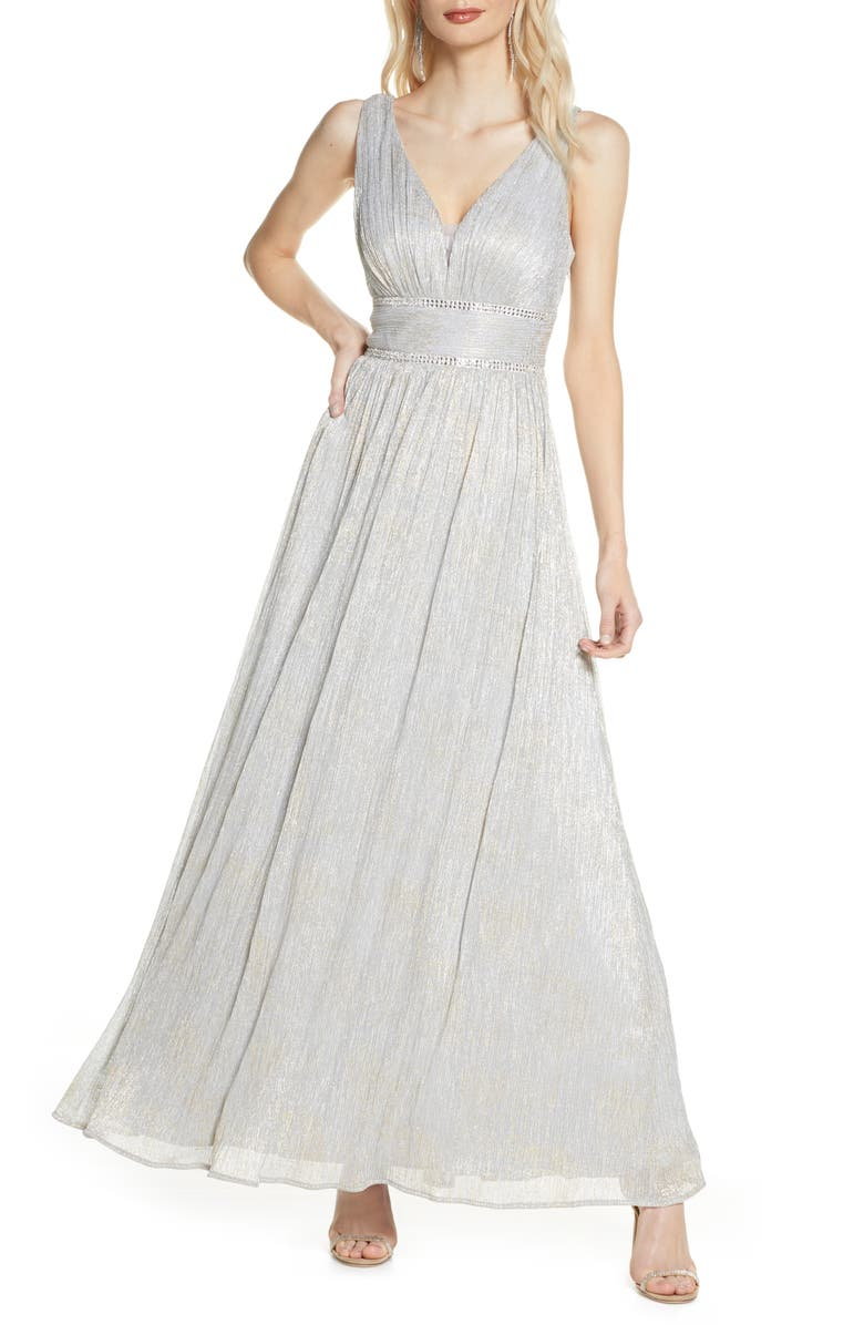 MORGAN & CO. Shimmer Knit A-Line Gown, Main, color, SILVER