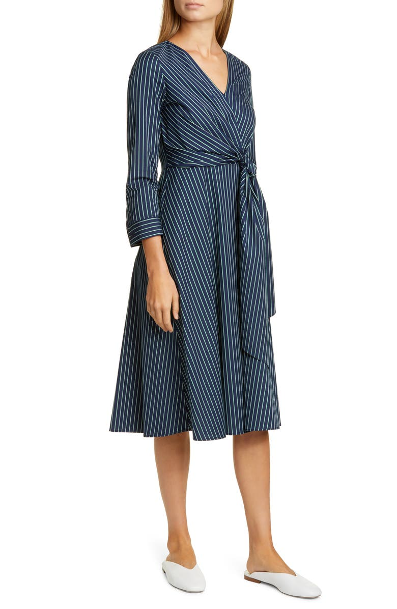 LAFAYETTE 148 NEW YORK Penelope Stripe Faux Wrap Midi Dress, Main, color, ROYAL BLUE MULTI