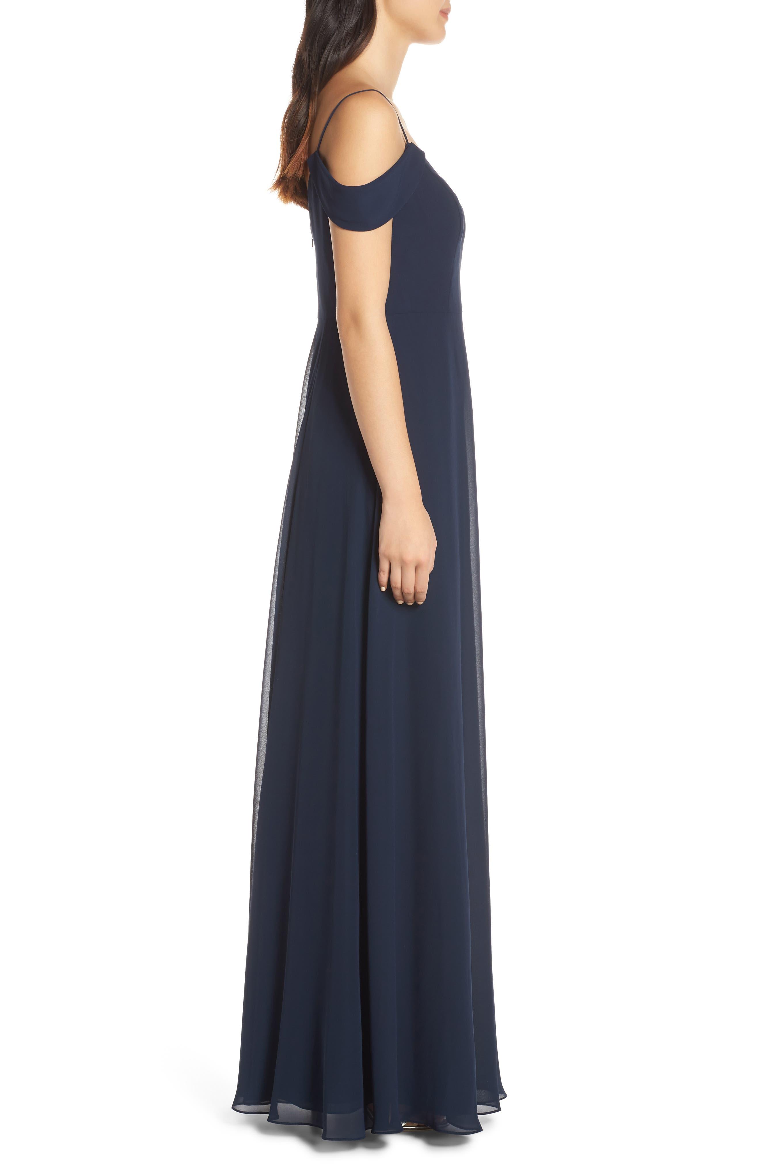 ,                             Priya Cold Shoulder Chiffon Evening Dress,                             Alternate thumbnail 4, color,                             NAVY