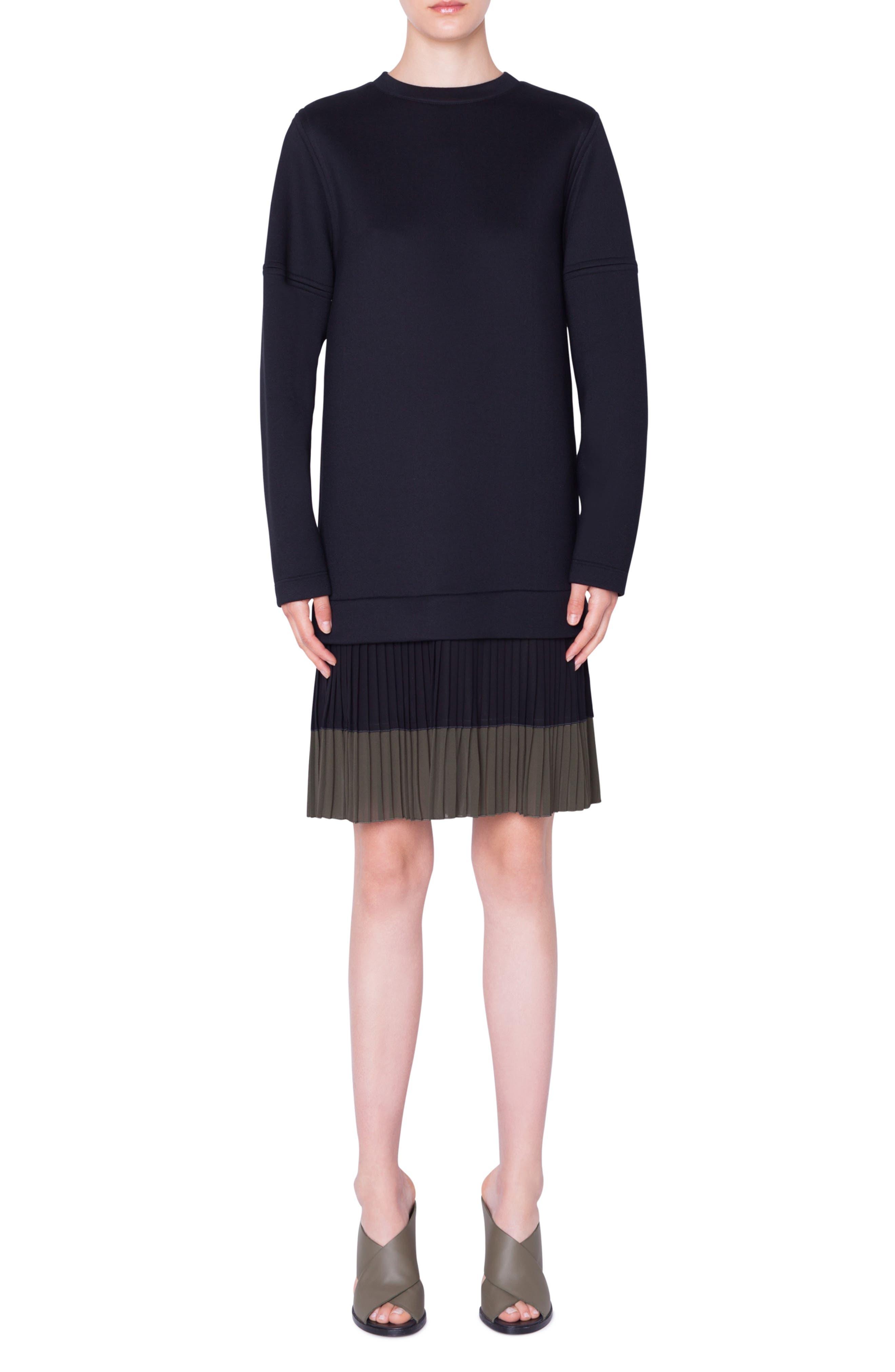 Pleated Hem Sweatshirt Dress, Main, color, NERO-OLIVA