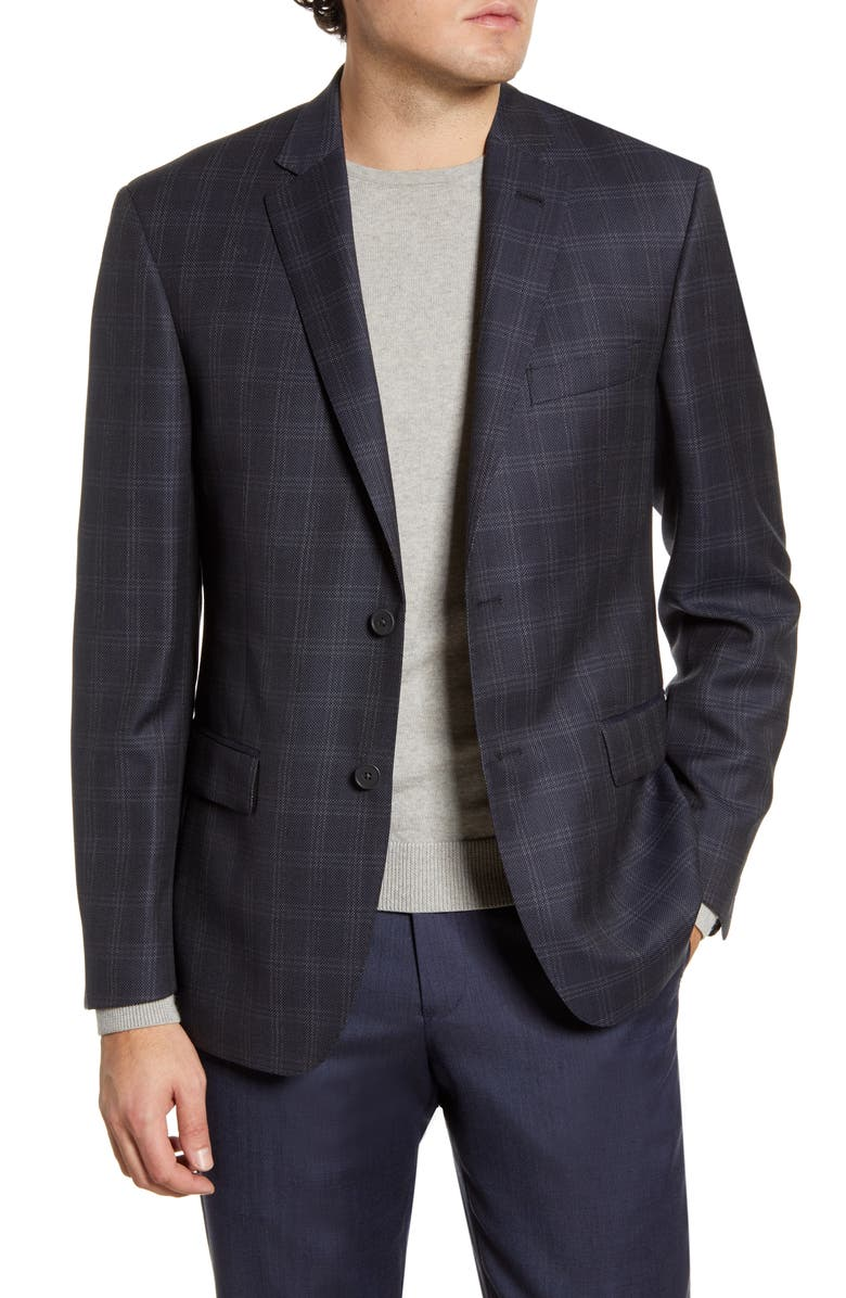 JOHN W. NORDSTROM<SUP>®</SUP> Traditional Fit Plaid Wool Sport Coat, Main, color, NAVY IRIS GREY PLAID