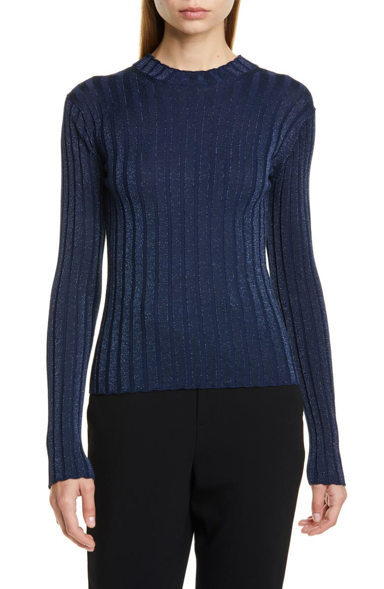 VINCE Metallic Thread Ribbed Mock Neck Wool Blend Sweater, Main, color, HYDRA