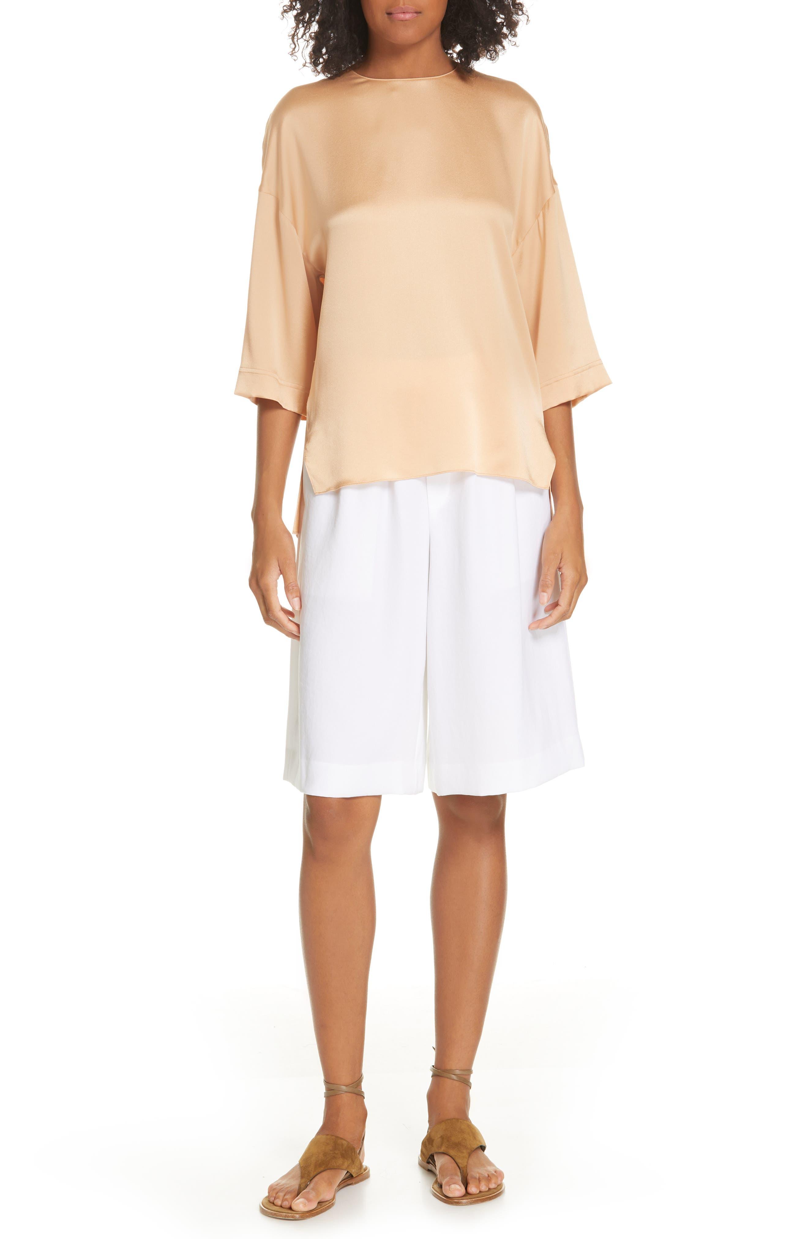 ,                             Wide Leg Pull-On Shorts,                             Alternate thumbnail 7, color,                             OPTIC WHITE