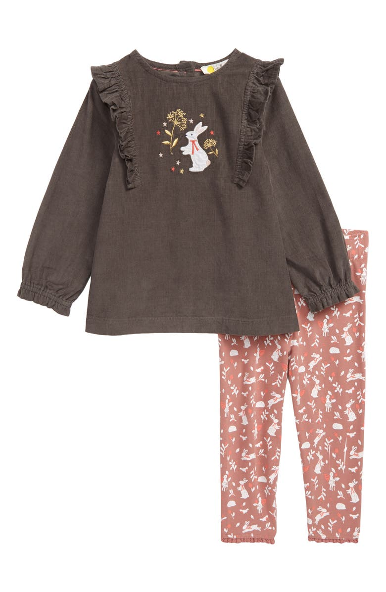 MINI BODEN Ruffle Corduroy Tunic & Print Leggings Set, Main, color, DUSKY ROSE GARDEN