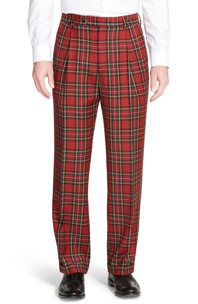 BERLE Pleated Classic Fit Plaid Wool Trousers, Main, color, RED