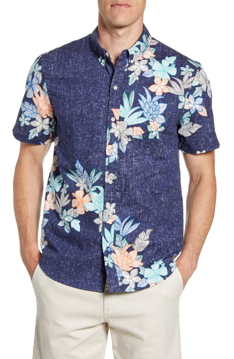 REYN SPOONER South Pacific Garlands Tailored Fit Short Sleeve Button-Down Shirt, Main, color, MARITIME BLUE