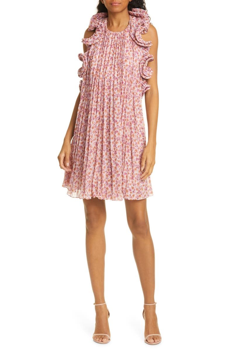 AMUR Mimi Floral Pleated Ruffle Dress, Main, color, ORCHID HUSH DITSY ROSA