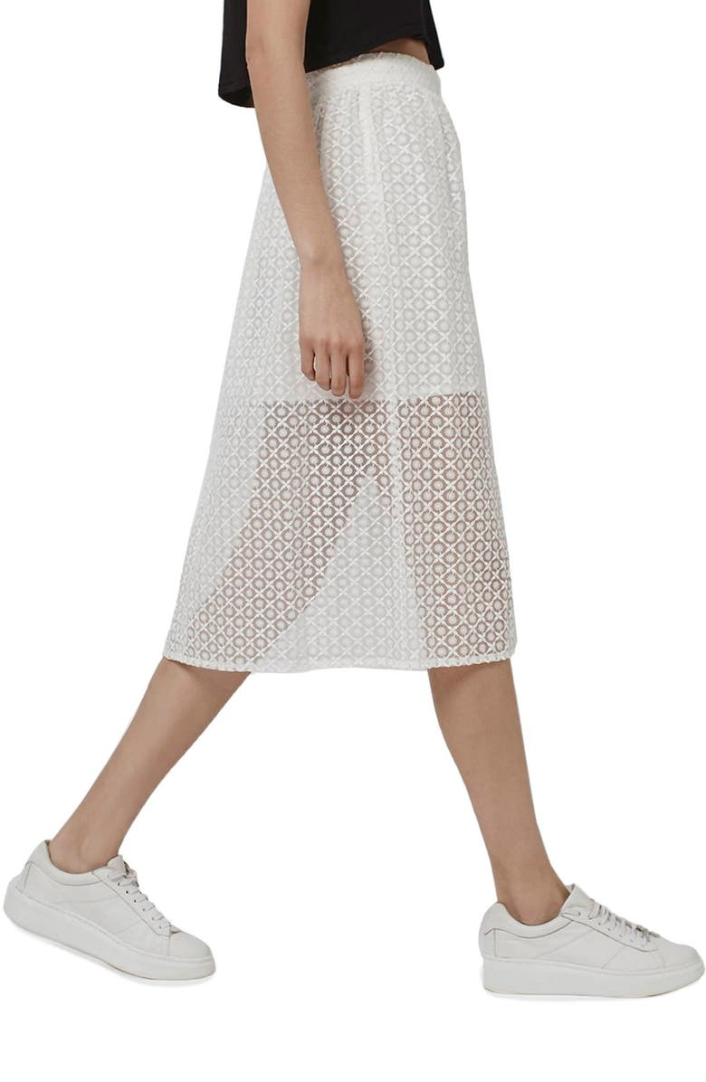 TOPSHOP Floral Embroidered Organza Midi Skirt, Main, color, 100