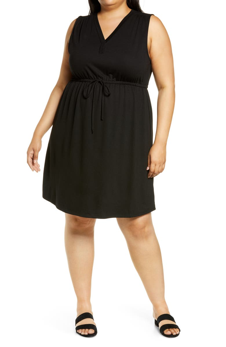 BOBEAU Drawstring Jersey Dress, Main, color, 001