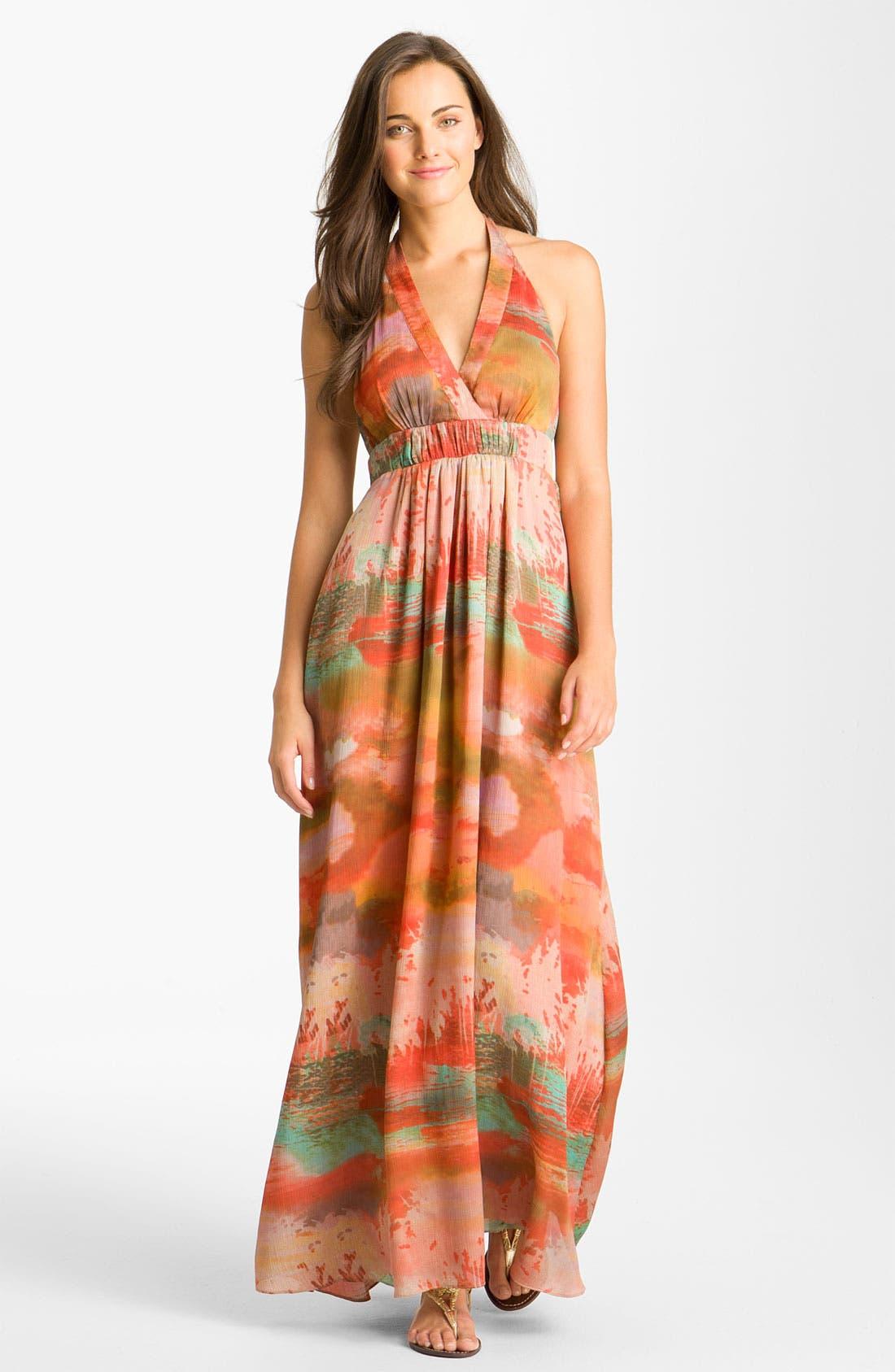 Print Halter Crêpe de Chine Maxi Dress, Main, color, 801