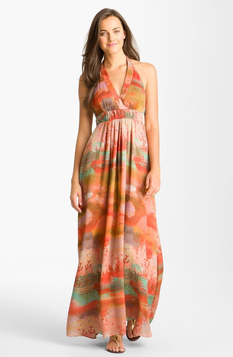 JESSICA SIMPSON Print Halter Crêpe de Chine Maxi Dress, Main, color, 801