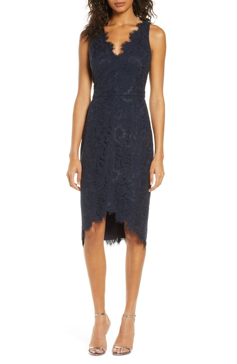 ELIZA J Tulip Hem Lace Cocktail Dress, Main, color, 410