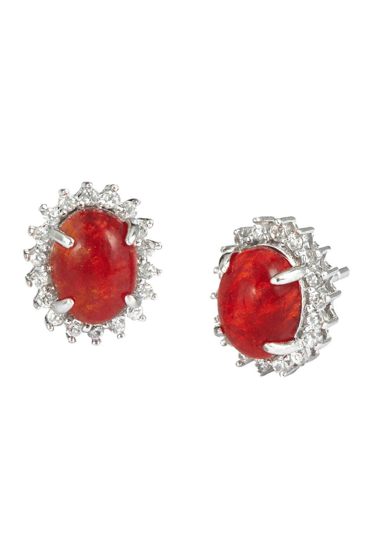 Savvy Cie Sterling Silver Mexican Fire Opal CZ Halo Earrings at Nordstrom Rack