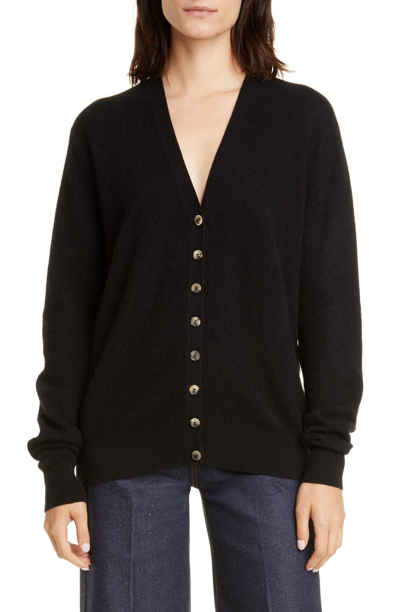 KHAITE Amelia Button Front Cashmere Cardigan, Main, color, BLACK