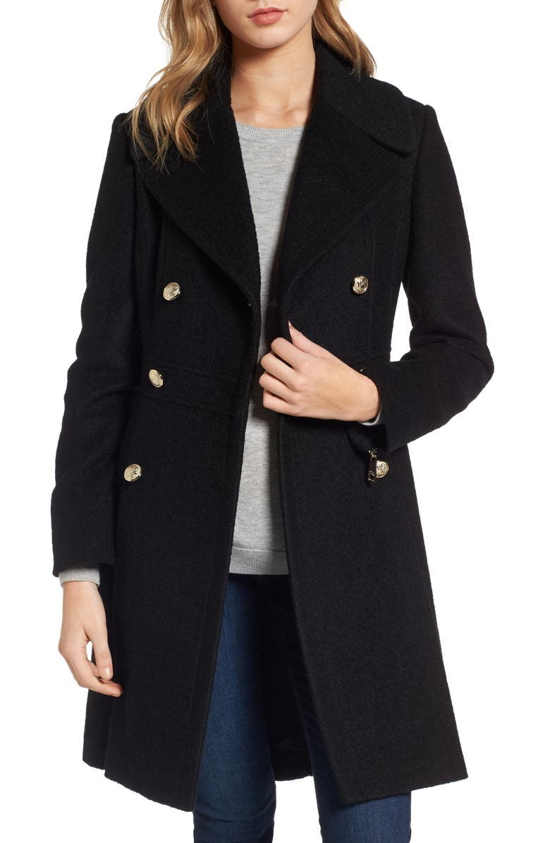 GUESS Double Breasted Wool Blend Coat, Main, color, 001