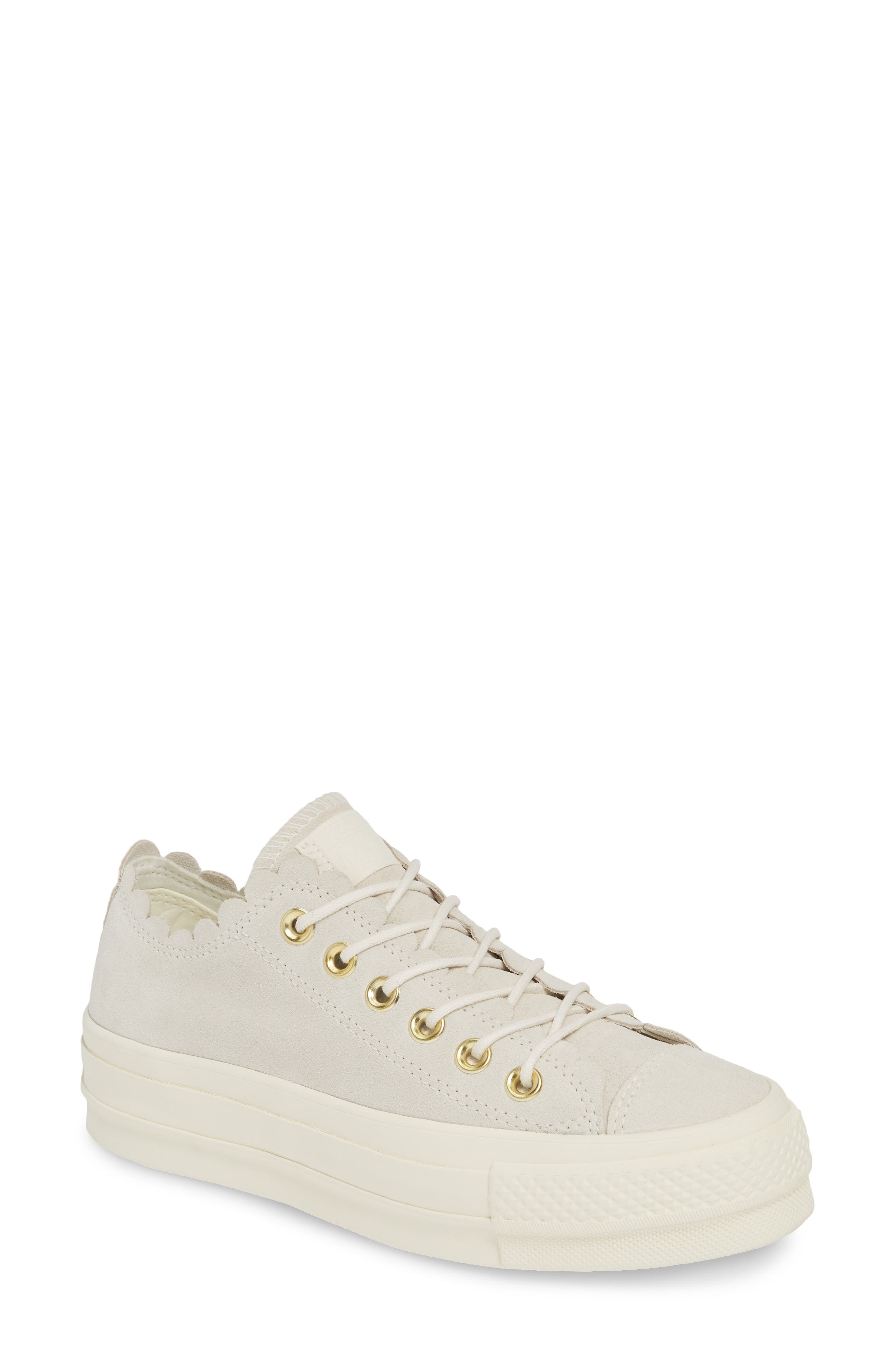 ,                             Chuck Taylor<sup>®</sup> All Star<sup>®</sup> Frilly Scallop Platform Sneaker,                             Main thumbnail 1, color,                             020