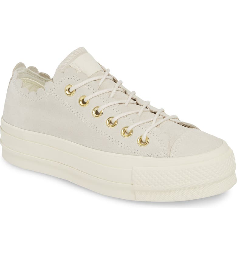 CONVERSE Chuck Taylor<sup>®</sup> All Star<sup>®</sup> Frilly Scallop Platform Sneaker, Main, color, 020