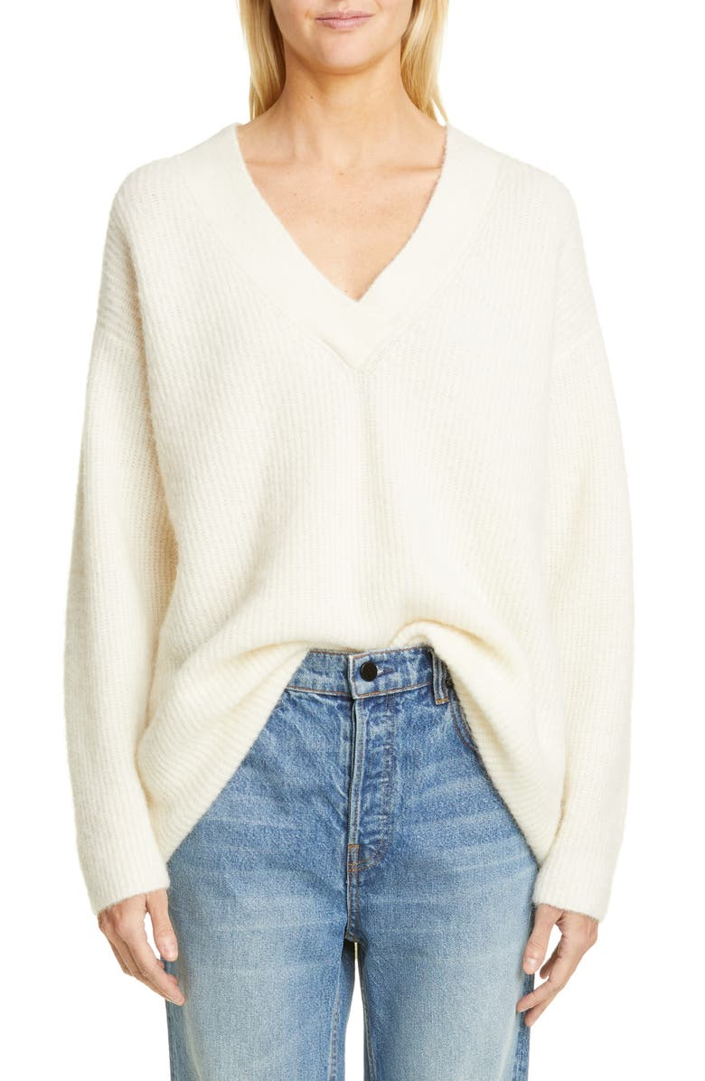 GANNI V-Neck Sweater, Main, color, EGRET
