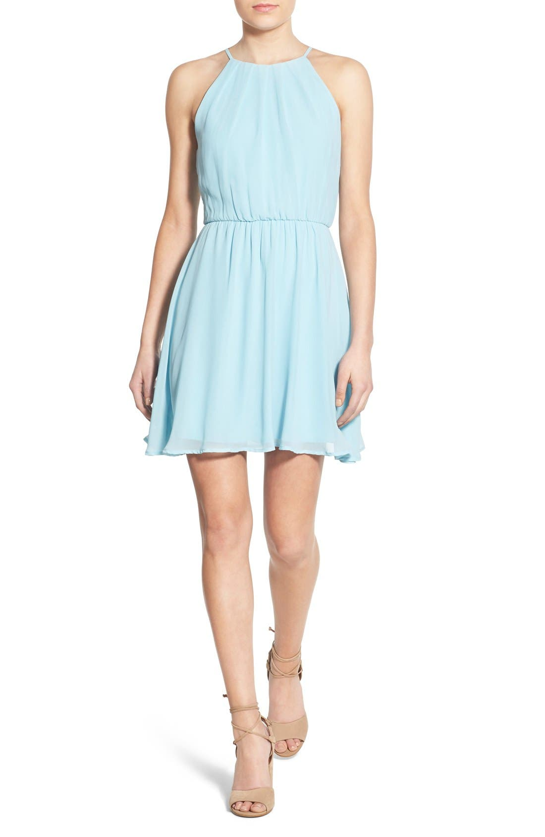 ,                             Blouson Chiffon Skater Dress,                             Main thumbnail 155, color,                             450