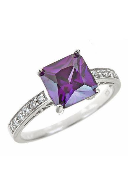 Image of Sterling Forever Sterling Silver Amethyst CZ Princess Cut Engagement Ring