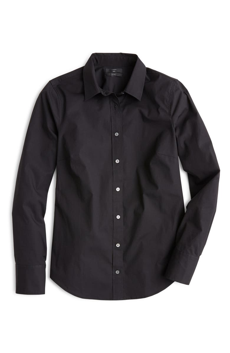 J.CREW Slim Stretch Perfect Shirt, Main, color, BLACK