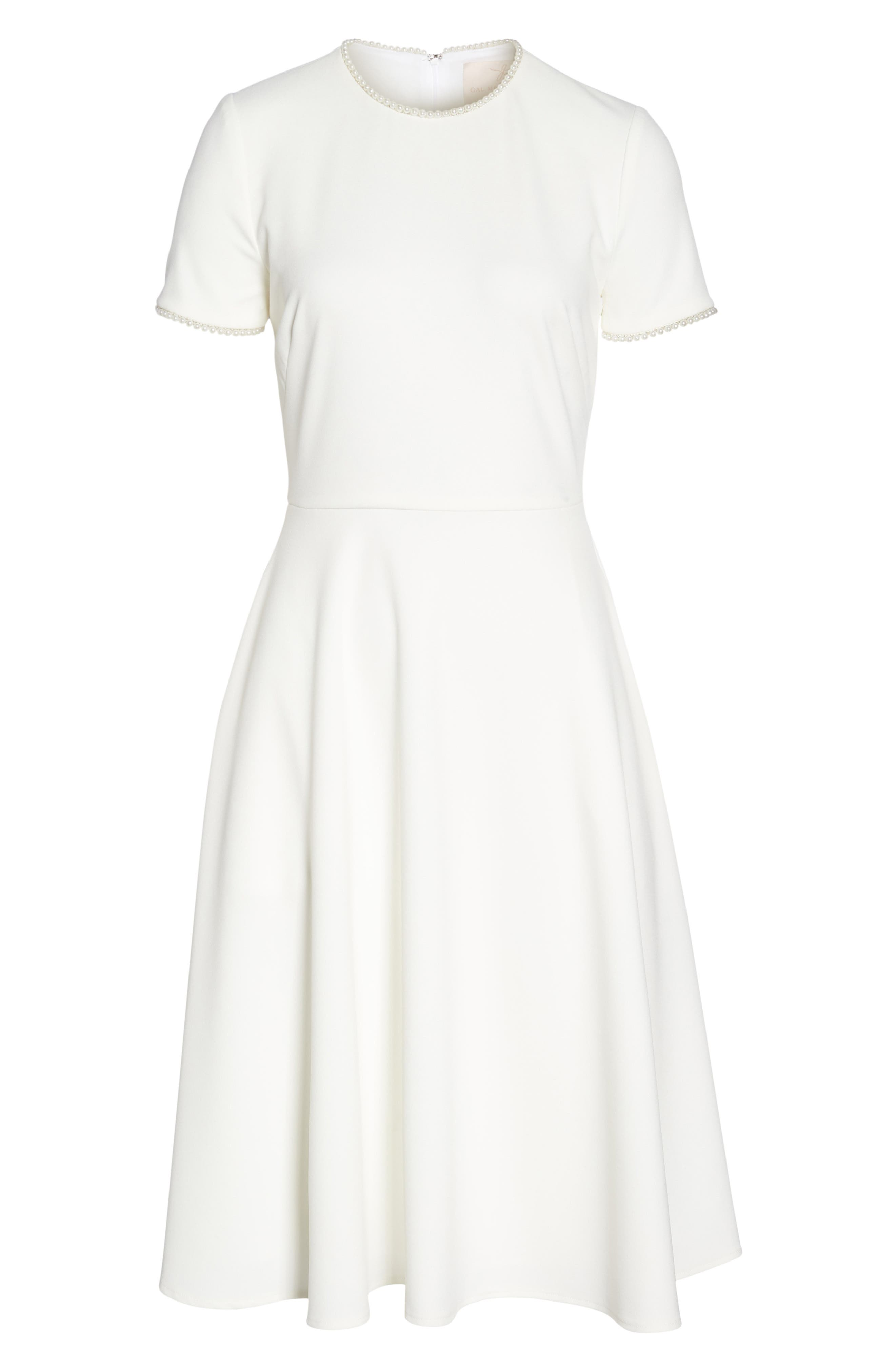 ,                             Victoria Pearly Trim Fit & Flare Dress,                             Alternate thumbnail 7, color,                             CREME