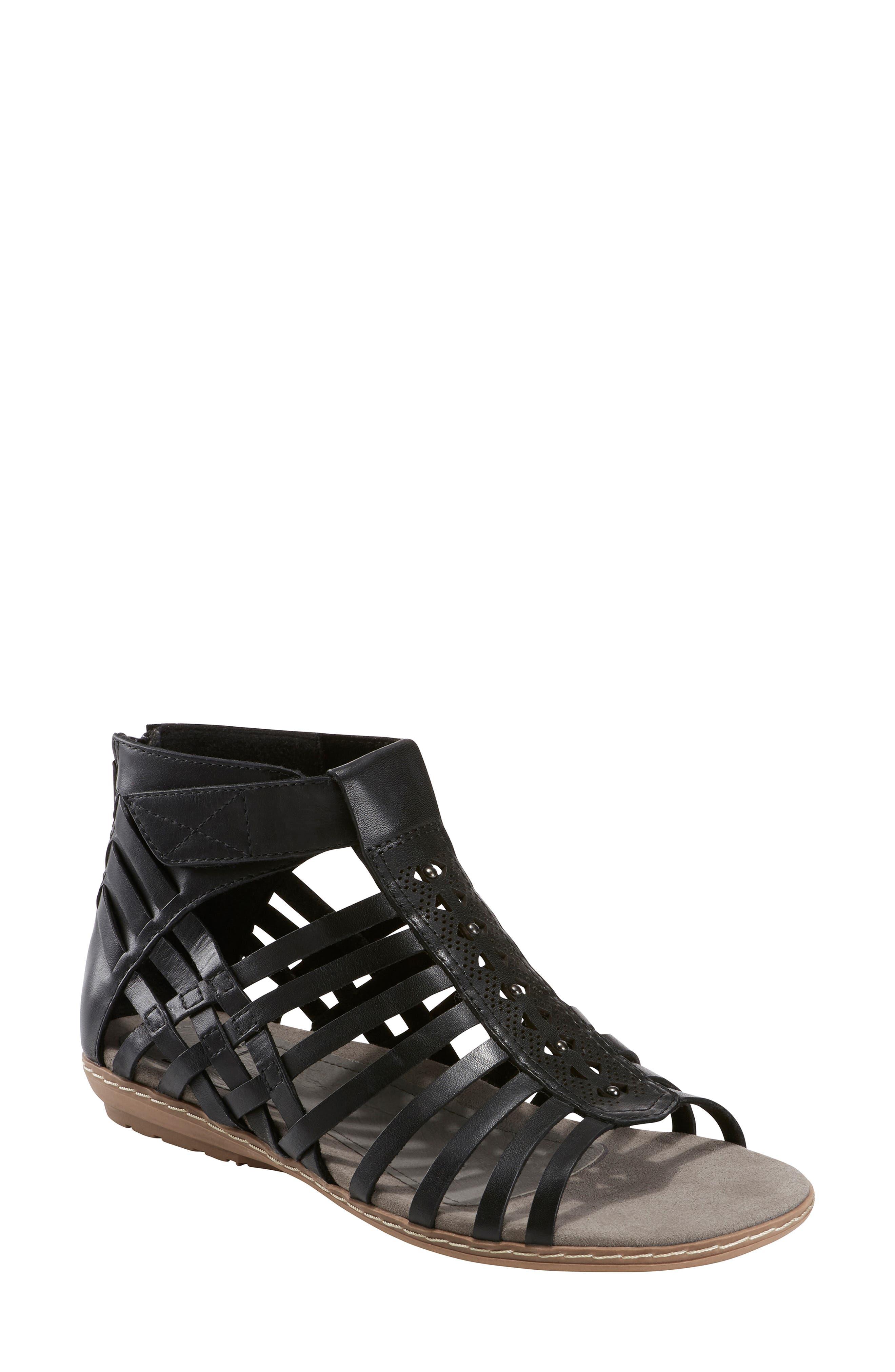 Marconi Sandal, Main, color, BLACK LEATHER