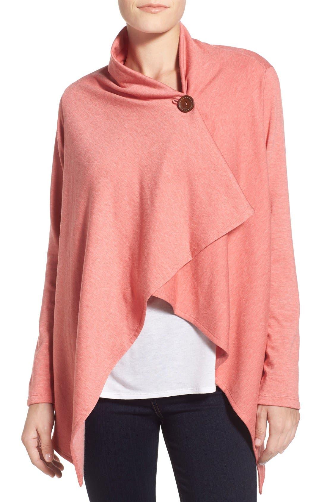 ,                             One-Button Fleece Wrap Cardigan,                             Main thumbnail 239, color,                             951