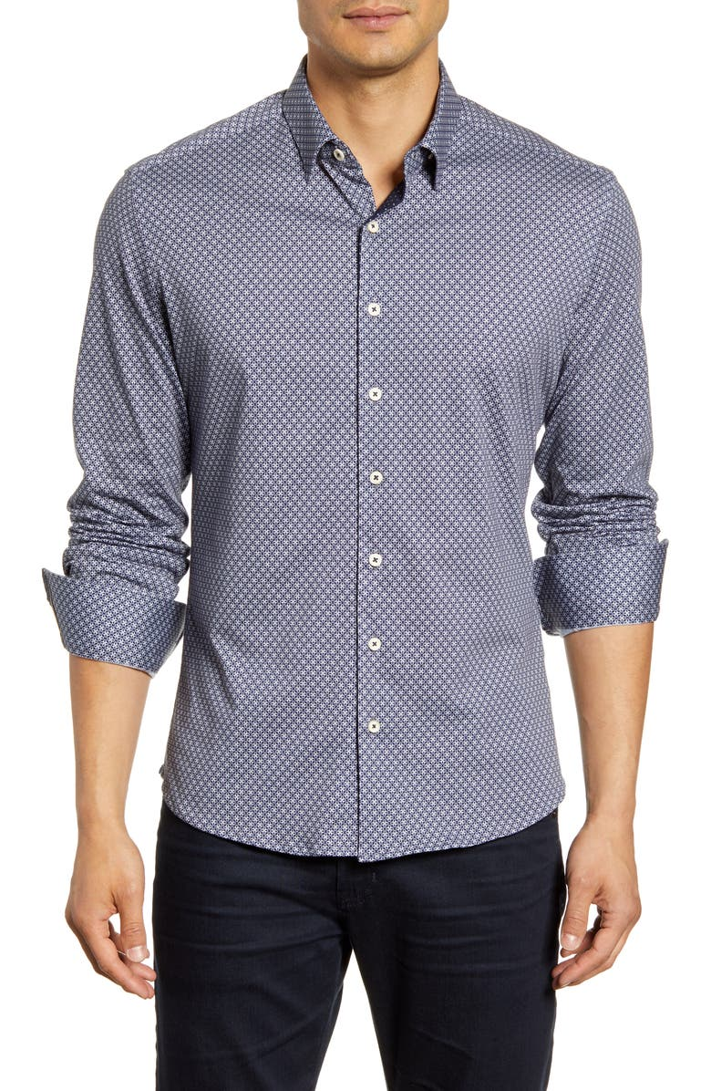 STONE ROSE Regular Fit Button-Down Performance Sport Shirt, Main, color, NAVY