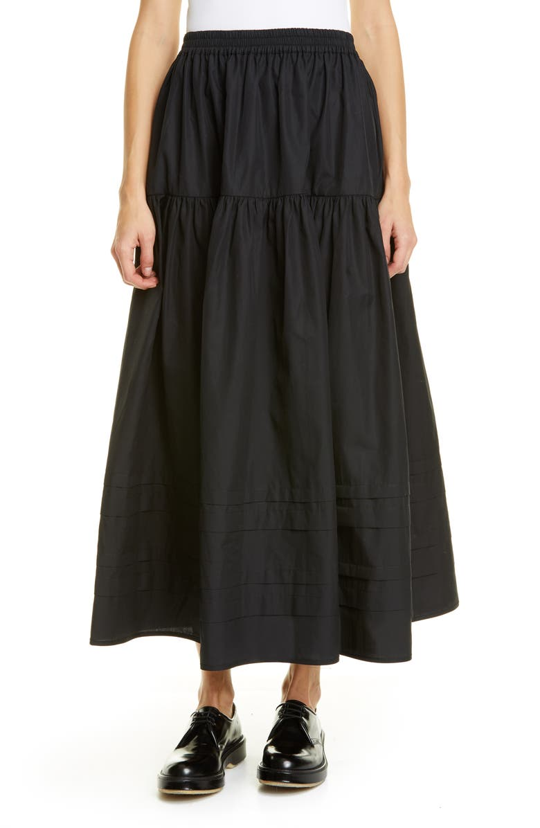 CECILIE BAHNSEN Eiko Tiered Cotton Maxi Skirt, Main, color, BLACK