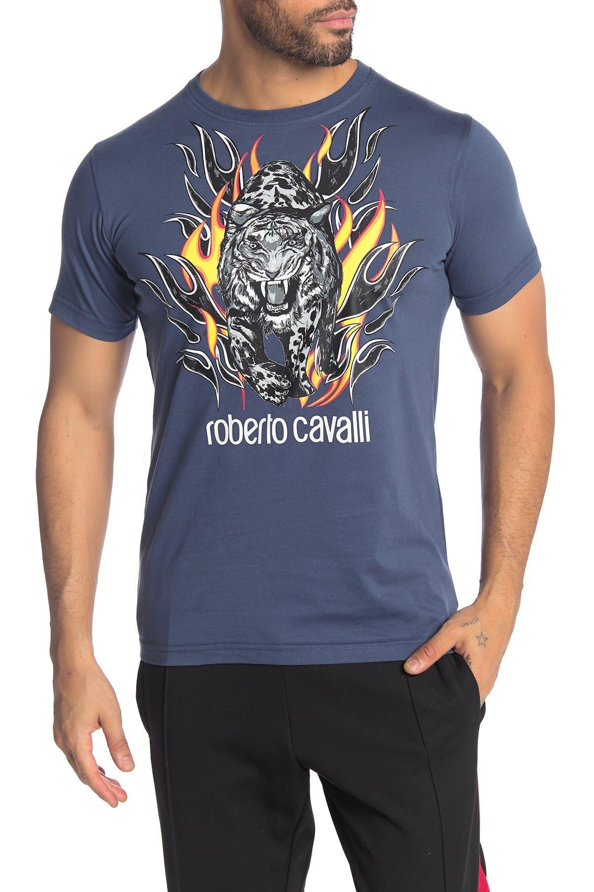 Roberto Cavalli Leopard Front Graphic Short Sleeve T-Shirt