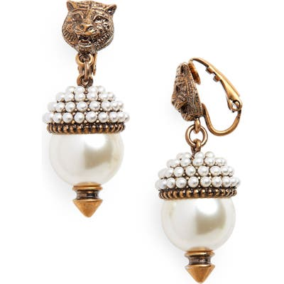 Gucci Feline Head Faux Pearl Drop Earrings