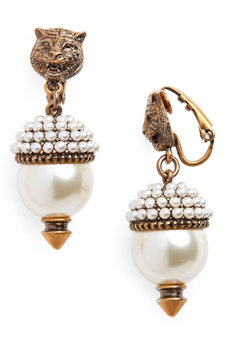 GUCCI Feline Head Faux Pearl Drop Earrings, Main, color, GOLD/ PEARL