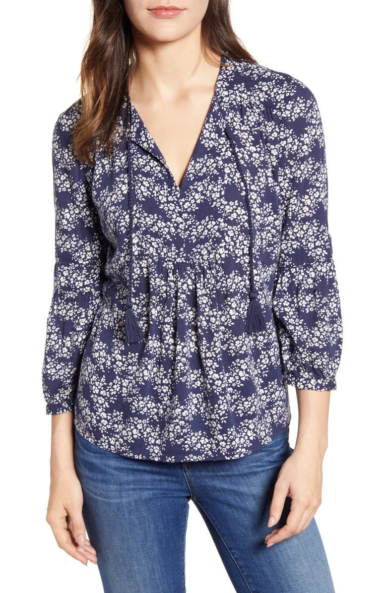 CASLON<SUP>®</SUP> Split Neck Print Blouse, Main, color, 410