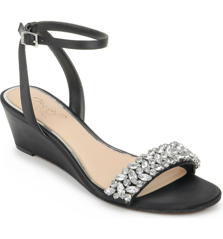 JEWEL BADGLEY MISCHKA Bellevue Ankle Strap Wedge Sandal, Main, color, BLACK SATIN