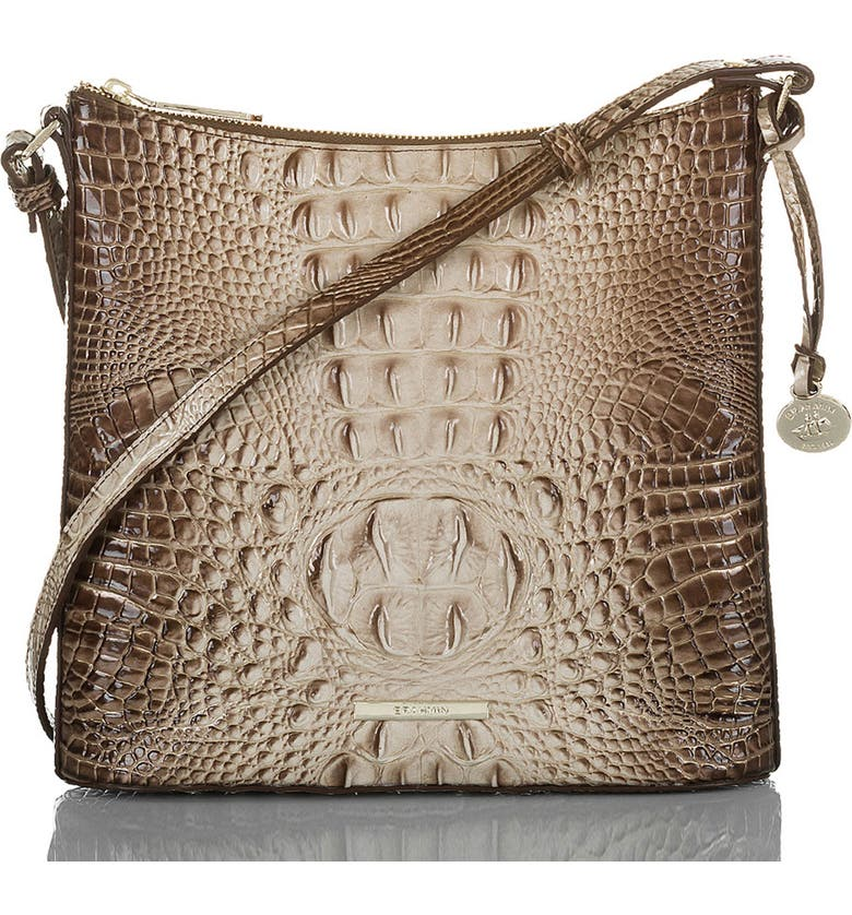 BRAHMIN Katie Croc Embossed Leather Crossbody Bag, Main, color, LATTE