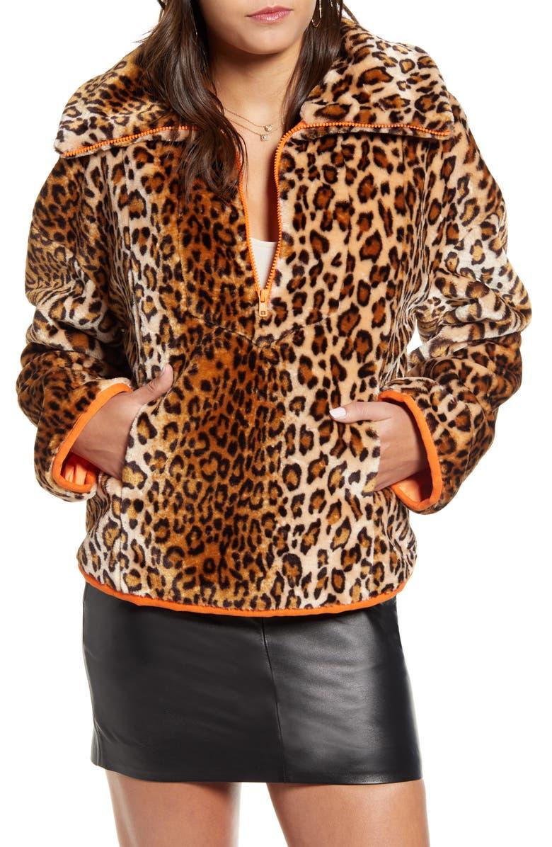 J.O.A. Leopard Print Half Zip Sweatshirt, Main, color, CAMEL LEOPARD