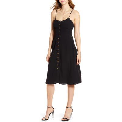 Codexmode Button Front Tie Back Dress, Black