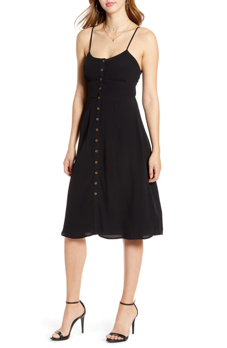 CODEXMODE Button Front Tie Back Dress, Main, color, BLACK
