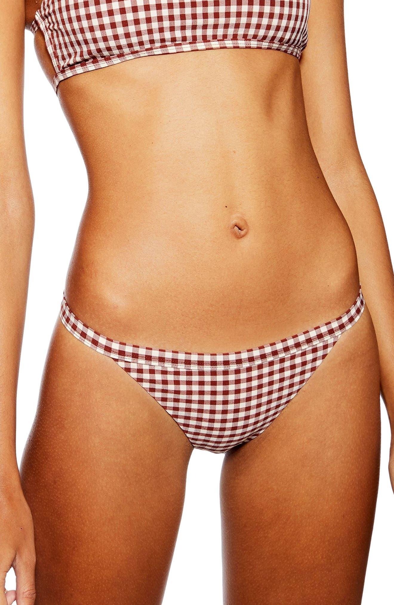 Topshop Gingham Bikini Bottoms, US (fits like 2-4) - Brown
