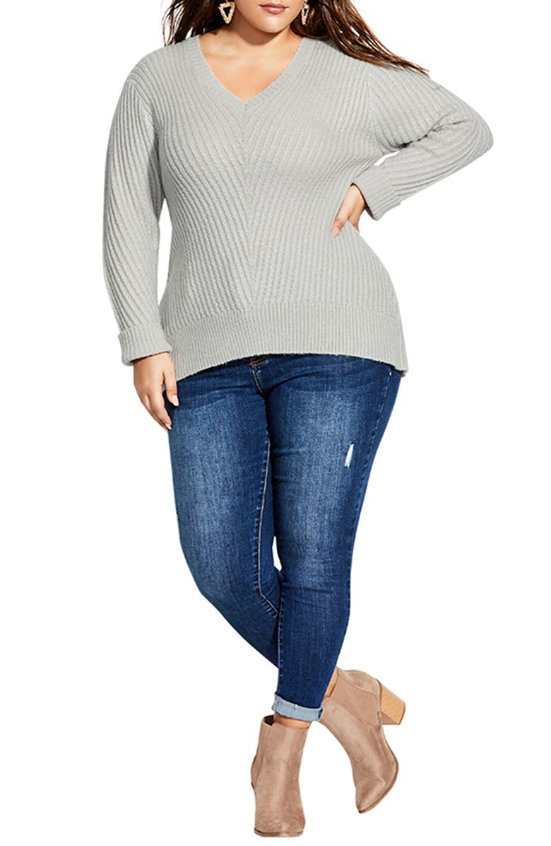 CITY CHIC V-Neck Ribbed Sweater, Main, color, SILVER MARLE