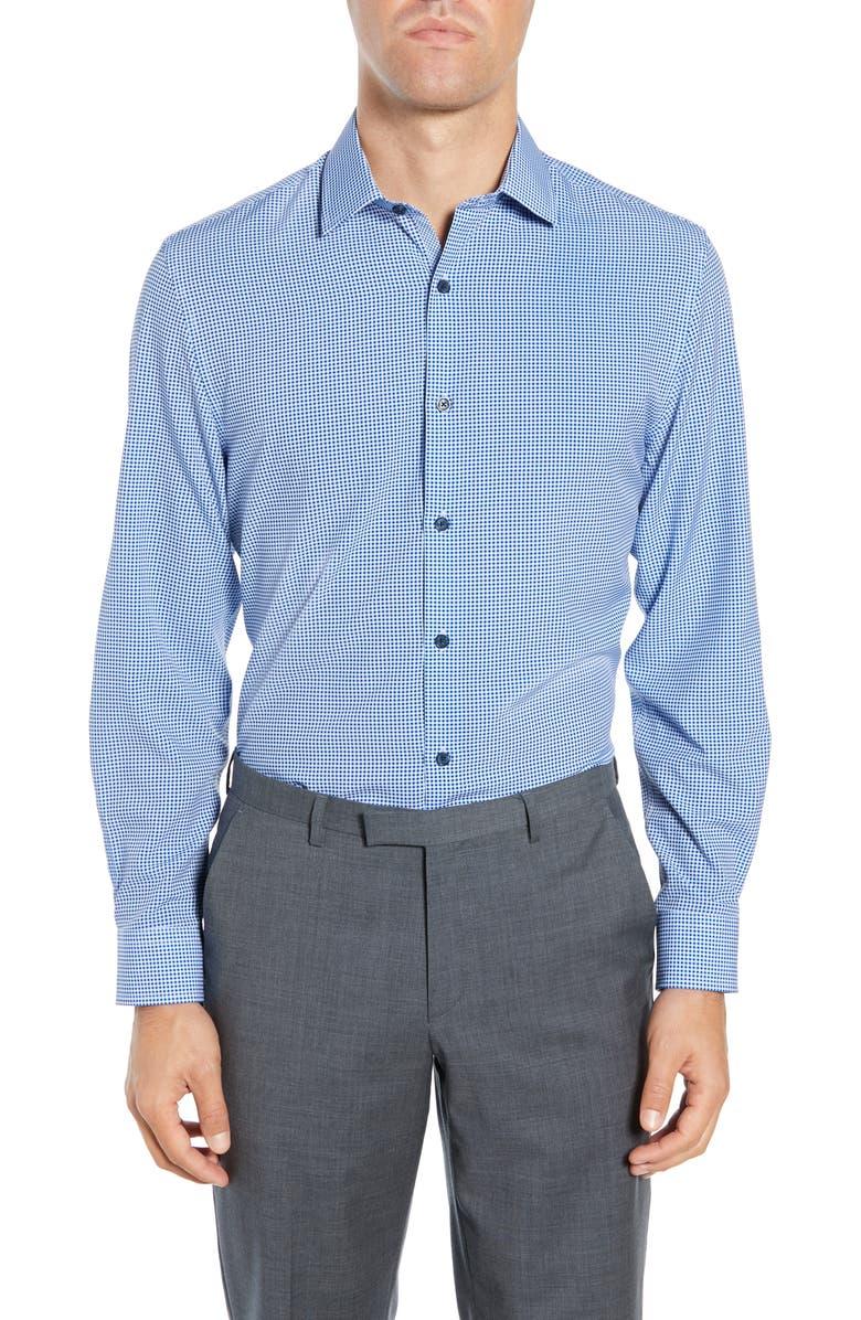 W.R.K Trim Fit Performance Stretch Check Dress Shirt, Main, color, BLUE