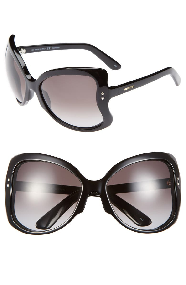 VALENTINO 'Rockstud - Butterfly' 61mm Sunglasses, Main, color, 001