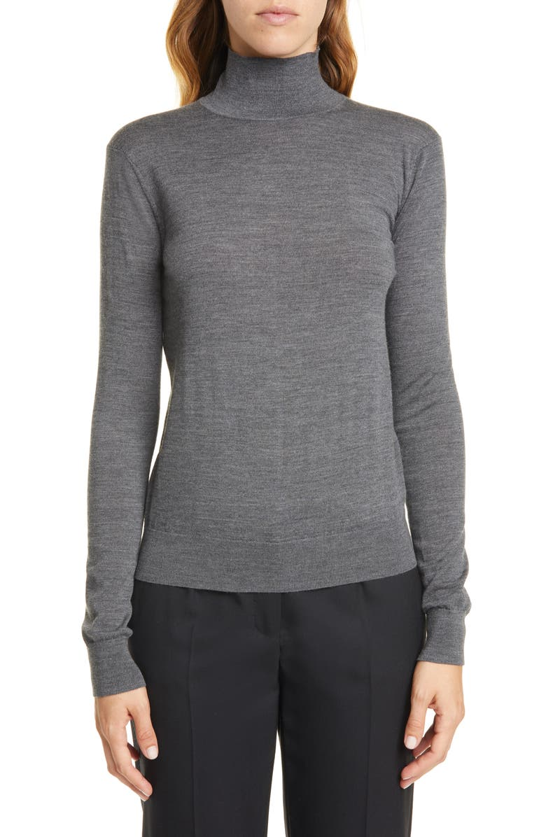 THEORY Wool Mock Neck Sweater, Main, color, MEDIUM HEATHER GREY