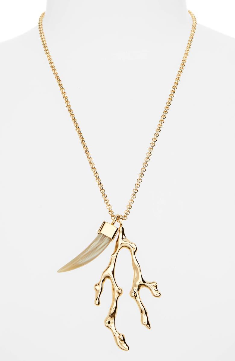 CHLOÉ Horn Pendant Necklace, Main, color, GOLD