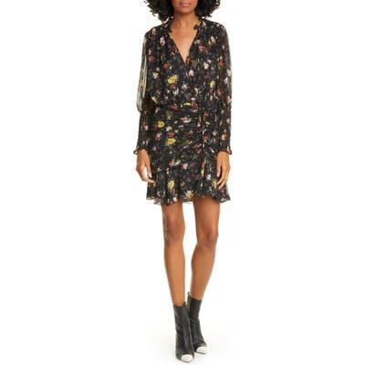 Veronica Beard Armeria Floral Print Long Sleeve Silk Dress, Black