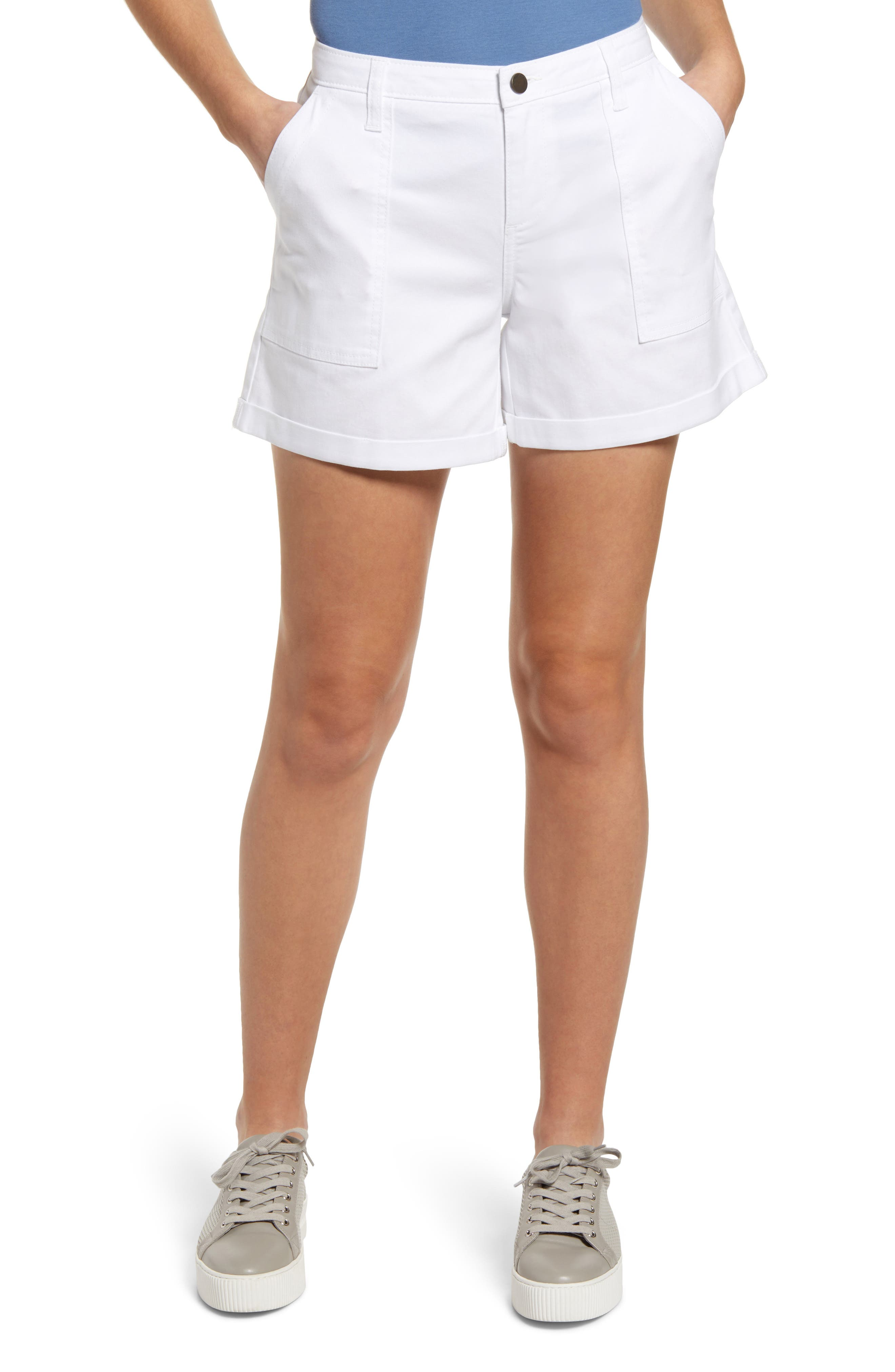 70s Shorts | Denim, High Rise, Athletic Womens Caslon Rolled Cuff Twill Shorts Size 00 - White $49.00 AT vintagedancer.com